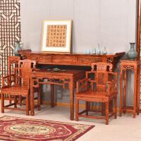 古典中式神台榆木仿古家具佛龛供台供桌中堂四件套