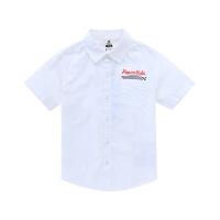 小猪班纳童装男童白衬衫翻领春秋薄款纯棉儿童上衣2020新款短袖