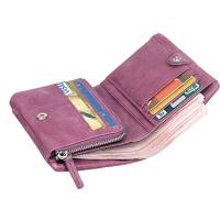 女士钱包真皮短款拉链三折叠韩版皮夹零钱袋多功能刻字小钱夹牛皮