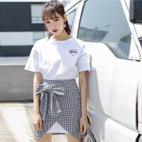 夏季时尚新款气质女装套装中长款T恤裙蝴蝶结绑带半身裙两件套女