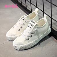 儿童帆布鞋春季男童布鞋白色女童板鞋系带软底宝宝鞋