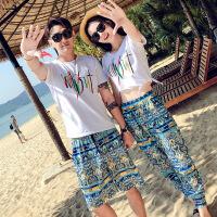 夏季时尚沙滩情侣装短袖T恤海边蜜月旅游度假男女套装短裤两件套