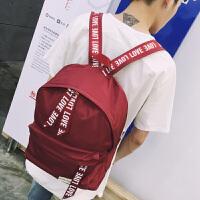男生双肩包潮韩版学院风大学生书包旅行休闲青少年电脑背包 黑色