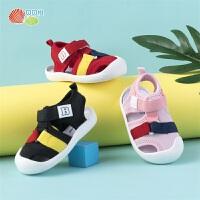 贝贝怡男女童凉鞋时尚韩版软底宝宝透气学步鞋192X123