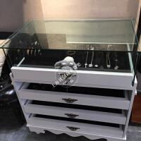 欧式饰品柜多层玻璃展示柜多功能项链首饰陈列柜钱包眼镜中岛柜台