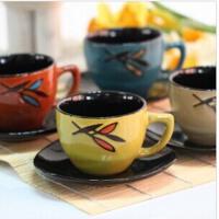 陶瓷茶具12套件杯子杯垫四色混发 日韩复古色釉陶瓷茶具12套件杯子杯垫四色混发