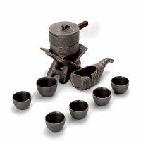 茶具�腥俗仙肮Ψ虿杈咛籽b家用��意旋�D自�颖��嘏浼�整套��木茶�P 17 古早味半自�硬杈�