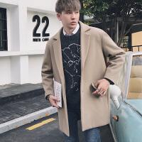 新款冬季韩版士中长款呢料大衣日系青年休闲外套男装风衣潮