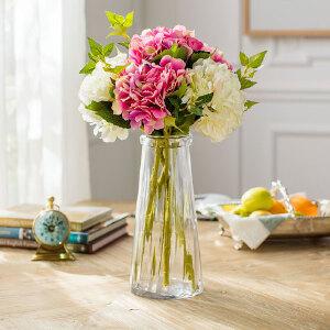 奇居良品 仿真花绢花整体花艺摆件 沐尔桶花瓶配古典高枝绣球花