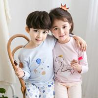 乌龟先森 儿童家居服 儿童秋季新款韩国卡通内衣套装男女童棉质莱卡秋衣秋裤中大童家居服