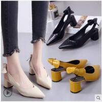 包头凉鞋女鞋夏季新款百搭韩版粗跟单鞋尖头中跟职业OL高跟鞋
