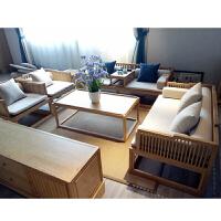 新中式实木布艺沙发组合简约现代原木色冬夏两用沙发禅意家具定制