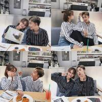 韩版情侣装发型师餐厅咖啡厅员工服男士小码S-5XL条纹长袖衬衫女