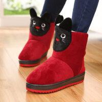高帮棉拖鞋全包跟家居靴女毛毛绒棉鞋可爱卡通加厚底居家保暖