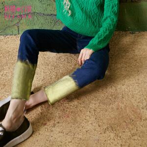 妖精的口袋金色维也纳秋装新款修身毛边刷金铅笔裤牛仔裤女