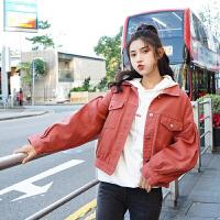 牛仔外套 女士翻领宽松原宿泡泡袖牛仔外套2020秋季新款韩版时尚女式休闲开衫女装夹克