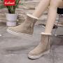 【领券立减50元】Coolmuch女棉鞋2019新款简约百搭加绒保暖雪地靴中筒休闲棉靴OLB88