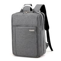 男士电脑包双肩15.6寸14旅行背包韩版商务通勤简约大高中学生书包 灰色防震 升级版