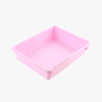 当当优品 可伸缩抽屉收纳盒 塑料厨房餐具整理分隔盒 粉色大号