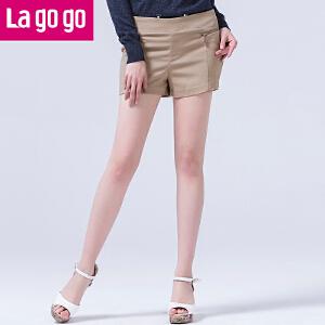 lagogo拉谷谷春装新款舒适休闲拉链装饰百搭短裤