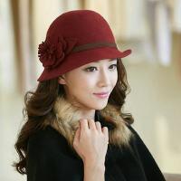 秋冬韩版潮毛呢帽羊毛毡帽冬天时尚复古英伦圆顶礼帽
