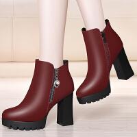 高跟短靴2017秋冬新款圆头加绒靴子女粗跟马丁靴英伦风厚底女靴潮