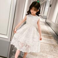 女童蕾丝连衣裙夏季无袖背心公主裙2021韩版新款中大童儿童裙