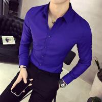 秋季纯色长袖衬衫工装村杉忖寸衫男士衬衣宝蓝色韩版修身商务正装