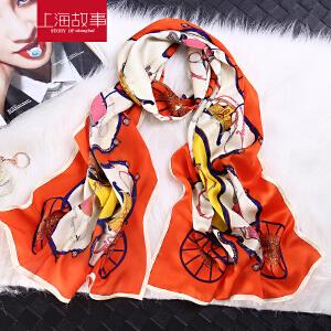 上海故事女丝巾围巾百搭韩版缎面印花长款桑蚕丝披肩女夏围巾两用