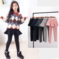 儿童裙裤秋冬季韩版女童裤子加绒假两件打底裤裙