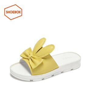 达芙妮集团 鞋柜夏季款少女蝴蝶结软妹凉鞋一字拖鞋时尚平底女鞋