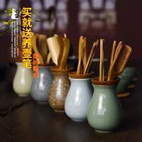 龙泉青瓷整套功夫茶具配件茶道六君子套装陶瓷竹制黑檀木实木零配