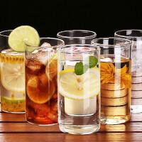 高硼硅玻璃水杯300ml六只套装透明喝水杯酒杯茶果汁杯牛奶啤酒杯玻璃水杯牛奶果汁杯茶杯饮料杯