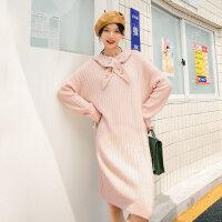 茵曼���B衣裙女中�L款2020年冬新款�L袖可拆卸�C花帽子甜美裙子【1804642】