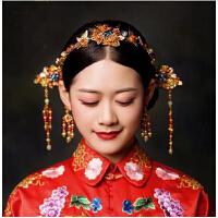 新款新娘古装头饰套装 秀禾服中式古代手工蝴蝶凤冠 结婚造型配饰
