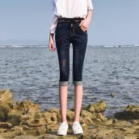 松紧腰牛仔七分裤女薄款夏季新款绣花小脚裤显瘦