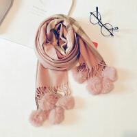 秋冬装流苏圣诞儿童可爱宝宝红色围脖潮女童格子围巾