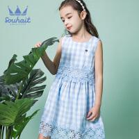 【3件3折:101元】souhait水孩儿童装夏季专柜同款儿童连衣裙格子连衣裙