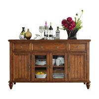 美式餐边柜实木备餐台两门茶水柜碗柜储物柜简约欧式橱柜酒柜家具