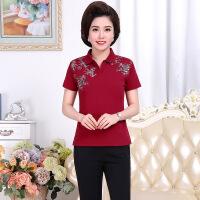 欧芮嘉妈妈夏装短T恤女时尚印花POLO衫40岁50中老年运动两件套装 玫红(上衣+裤子) 2XL/建议120-135斤