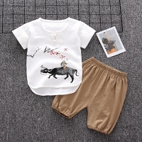 男童宝宝唐装儿童夏装短袖套装婴儿1-3岁2夏季两件套