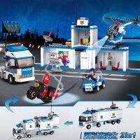 【当当自营】小鲁班城市特警系列儿童益智拼装积木玩具 新城市警车移动警署M38-B0376