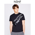 NSNF双色闪电图案纯棉黑色圆领男款T恤  短袖男装2017新款 修身圆领针织短袖