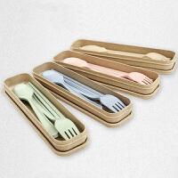 天然小麦秸秆便携三件套叉勺筷儿童学生餐具套装 粉色