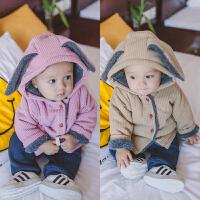 婴儿衣服装0岁6个月2宝宝上衣新生儿加绒加厚外套季冬装