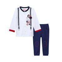 【3件6折】小猪班纳童装男宝宝套装2019春装新款儿童休闲长裤男童长袖T恤