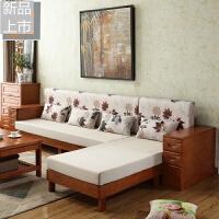 实木沙发 橡胶橡木组合现代简约中式客厅家具贵妃小户型沙发床定制 组合