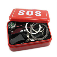 户外野外生存工具刀 自救求生盒 应急包组合套装装备 SOS生存盒