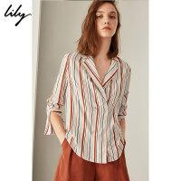 LILY2018秋新款女装双排扣西装领彩色条纹七分袖衬衫118319C4916