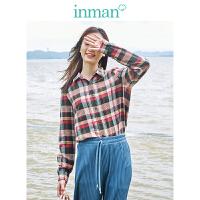 茵曼棉素系列2019秋装新款女式格子衬衫纯棉长袖衬衣流行格纹上衣【1893011482】
